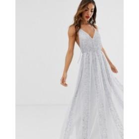 エイソス レディース ワンピース トップス ASOS DESIGN cami strap maxi dress in mesh with embellished sequin godet panels Pale blue