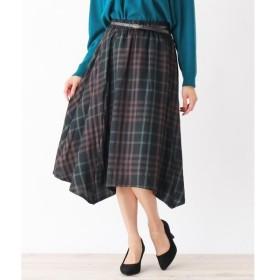 SHOO・LA・RUE / シューラルー 合皮ベルト付イレギュラーヘムスカート