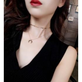 多層ネックレス 月ペンダント ファッション 女性ネックレス
