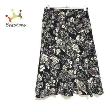 レリアン Leilian スカート サイズ13 L レディース 黒×ベージュ×パープル 花柄 新着 20190906