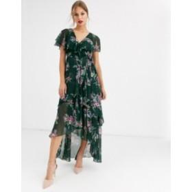 エイソス レディース ワンピース トップス ASOS DESIGN cape back dipped hem midi dress in garden bouquet print Green based floral