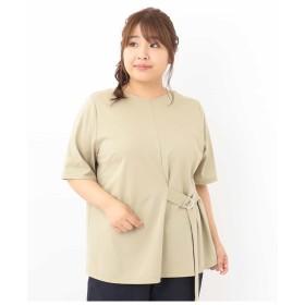 eur3 【大きいサイズ】ベルトアレンジ半袖カットソー Tシャツ・カットソー,カーキ