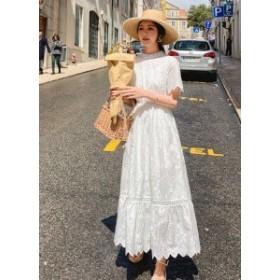 【送料無料】 レディース ワンピース Aライン レース シフォン フレア 刺繍 半袖 花柄 ハイネック ロング