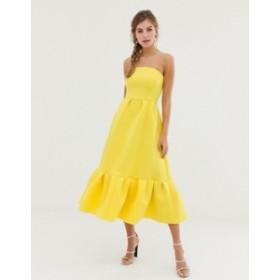 エイソス レディース ワンピース トップス ASOS DESIGN bandeau midi dress with ruffle pep hem Yellow
