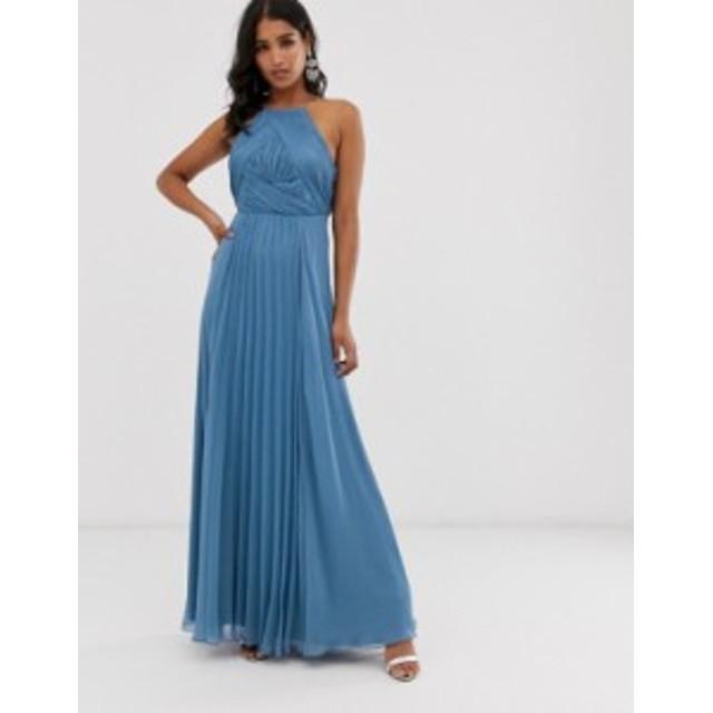 エイソス レディース ワンピース トップス ASOS DESIGN Bridesmaid pinny maxi dress with ruched bodice Blue