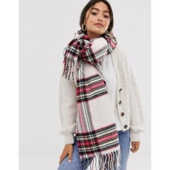 エイソス レディース マフラー・ストール・スカーフ アクセサリー ASOS DESIGN cream check long scarf with pink highlight Cream