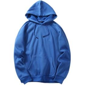 メンズ 長袖 パーカー 無地 裏起毛 基本的 厚い 暖かい トップス 秋冬 ポケット付き Blue XXL