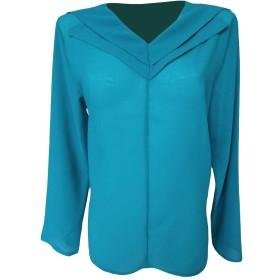 Romancly 女性シフォンディープVネックロングスリーブバギー純カラー快適ブラウスシャツ 1 4XL