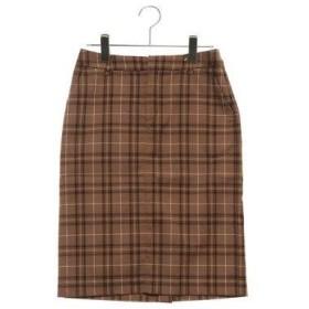 ルノンキュール アウトレット Lugnoncure outlet TRPUチェックタイトスカート (キャメル)