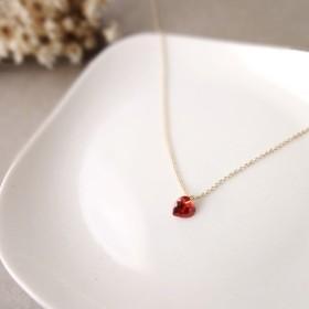 小さなハートのネックレス ■ 14KGF 赤いハート