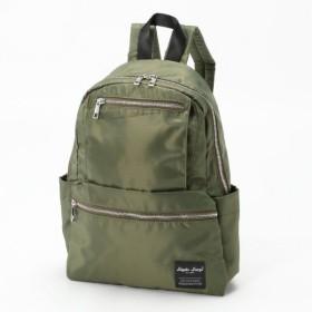 バッグ カバン 鞄 レディース リュック 撥水加工ナイロン調ポリ10ポケリュック カラー 「カーキ」