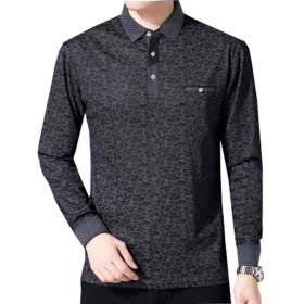 D.IIZOO スリム ニット tシャツ メンズ 長袖 カジュアル シャツ カットソー おしゃれ (3XL, ダークグレー)