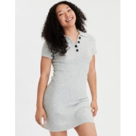アメリカンイーグル レディース ワンピース トップス AE Polo Sweater Dress Gray
