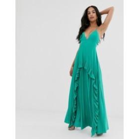 エイソス レディース ワンピース トップス ASOS DESIGN Strappy pleated maxi dress with ruffle pleat detail Aqua