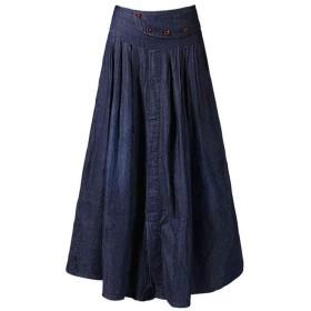 XHSSF-デニムスカート 大きいサイズのデニムスカート薄いセクションプリーツスカート@ブルー_L