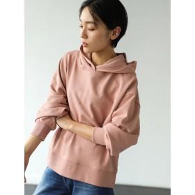 【5,000円以上お買物で送料無料】フード付裾スリット裏毛プルオーバー