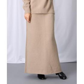 JET(ジェット) 【洗える】コットン混セミフレアニットマキシスカート