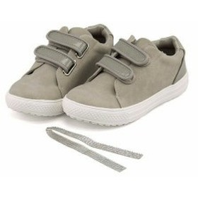 ローカット スニーカー 女の子 キッズ 子供靴 きせかえラインストーン ストラップ 美脚 アプリコット apricot 25395 グレー