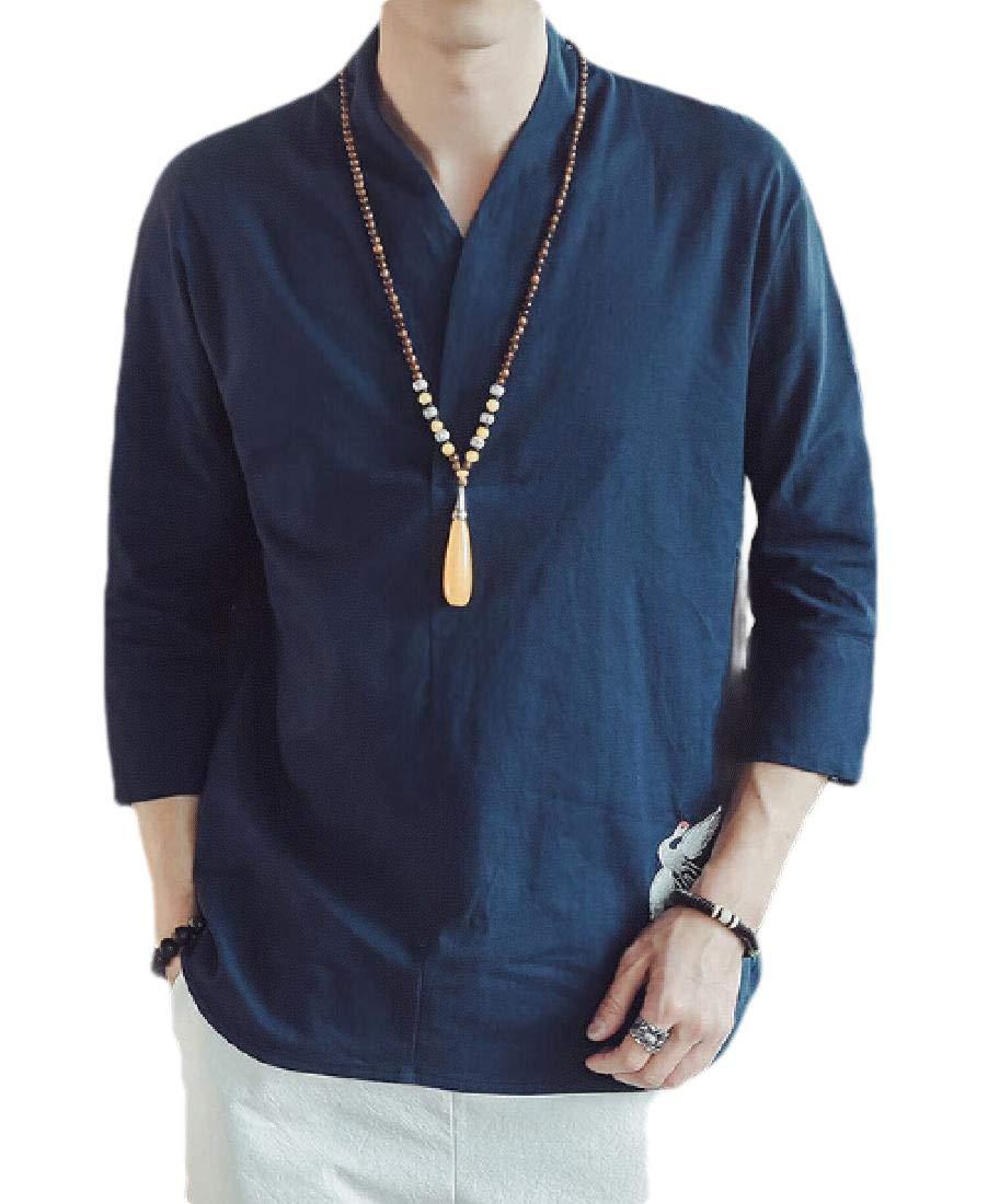 YUNY Men Middle East Kaftan Gown Cotton Shirt Muslim Islamic Kaftan Orange XS