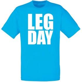 (脚の日) Leg Day, メンズ プリント Tシャツ - ブルー/白 2XL = 119-124cm