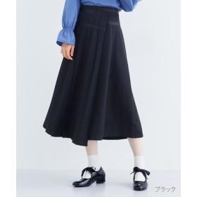 (merlot/メルロー)【plus】ウエストラインフロントプリーツラップスカート/レディース ブラック