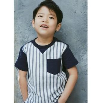 【THE SHOP TK (Kids):トップス】◆【150cmまで】フロント切り替えTシャツ