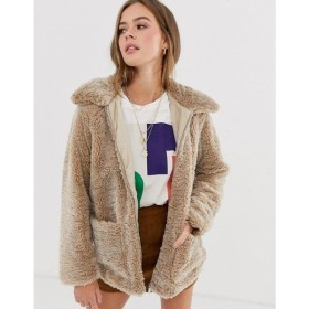 ニュールック New Look レディース コート アウター borg coat in camel キャメル