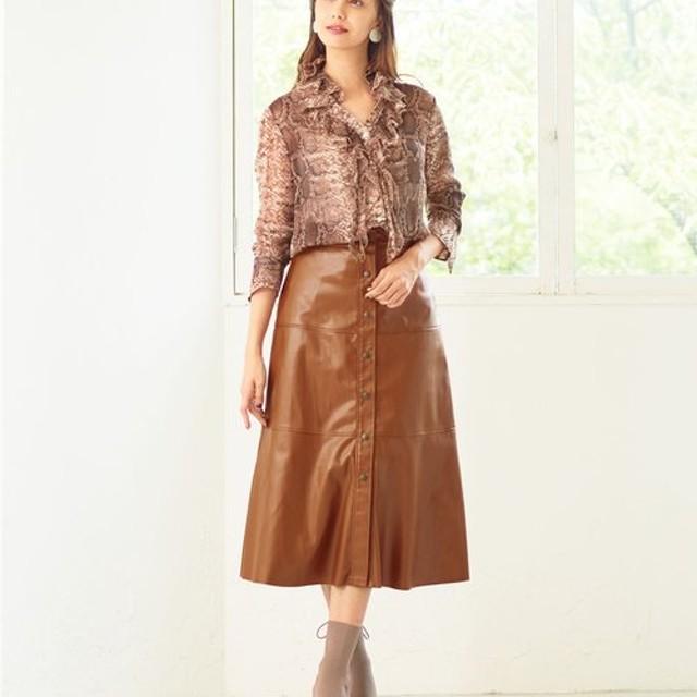 ナラカミーチェ フェイクレザーAラインスカート レディース ブラウン系 1 【NARA CAMICIE】