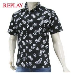 プレミアムSTOCK/LAST1/XLサイズ/リプレイ/REPLAY メンズ 半袖シャツ M4985 71664/ブラック/010/花柄/総柄/セール