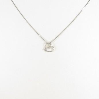 K18WG ハート ダイヤモンドネックレス