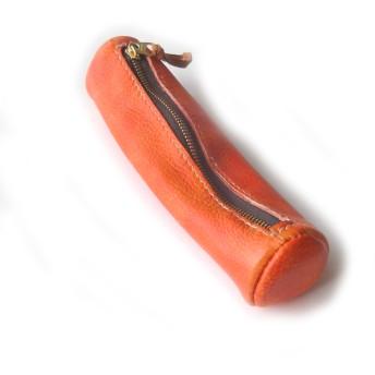 テラコッタ 鹿革円筒ペンケース( 手染め 手縫い)