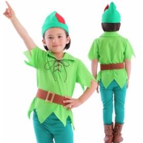 ファンタジーボーイ キッズ 妖精 グリーン 緑 子供サイズ 男の子 キャラクター風 コスチューム 衣装 コスプレ 仮装 変装