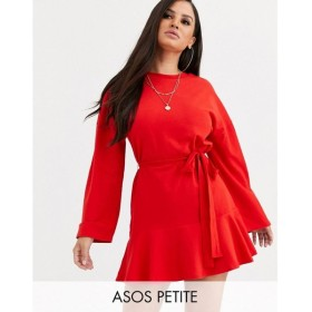 エイソス ASOS Petite レディース ワンピース ワンピース・ドレス ASOS DESIGN Petite long sleeve pep hem sweat dress レッド