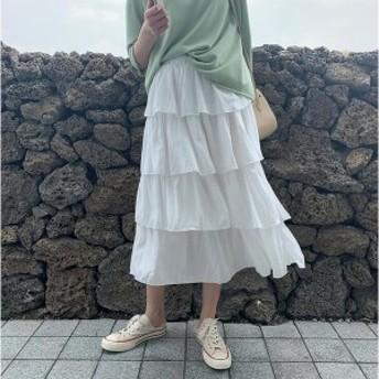 チュールスカート カステラスカート 台形スカート プリーツスカートウエストゴム ミドル丈 春夏 20 30 40代 可愛い少女 送料無料