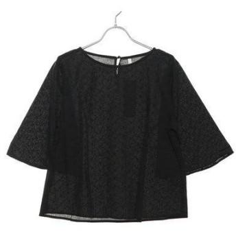 ルノンキュール アウトレット Lugnoncure outlet 刺繍袖フレアブラウス (ブラック)