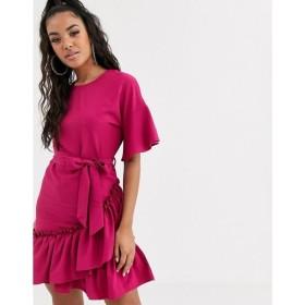 ブーフー Boohoo レディース ワンピース ラップドレス ワンピース・ドレス wrap dress with ruffle hem and angel sleeve in raspberry ラズベリー