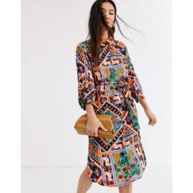 モンキー Monki レディース ワンピース シャツワンピース ワンピース・ドレス scarf print belted midi shirt dress in multi マルチカラー