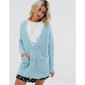 エイソス ASOS DESIGN レディース カーディガン トップス rib knit button cardigan in oversized shape ブルー
