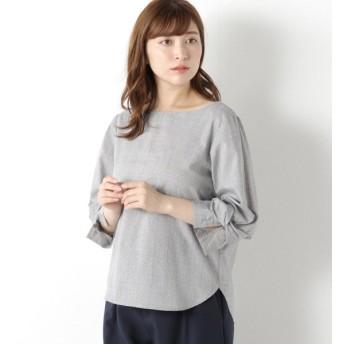 シャツ ブラウス レディース ブロード素材◎袖リボン7分袖ブラウス 「グレー」
