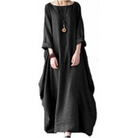 [ビーコ] 七分袖 カジュアル ゆったり ワンピース 大きい サイズ 黒 レディース(ブラック, XL)