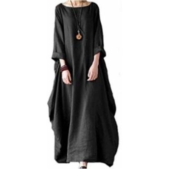 ビーコ 七分袖 カジュアル ゆったり ワンピース 大きい サイズ 黒 レディース(ブラック, XL)
