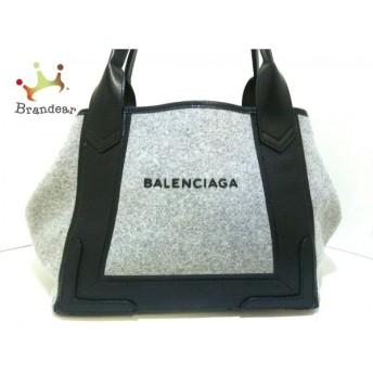 バレンシアガ BALENCIAGA トートバッグ ネイビーカバS 339933 グレー×黒 ウール×レザー 値下げ 20190912