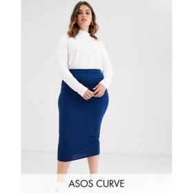 エイソス ASOS Curve レディース ひざ丈スカート ペンシルスカート スカート ASOS DESIGN Curve jersey pencil skirt in longer line ネイビー