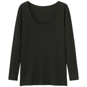 (GU)GUウォームUネックT(8分袖) BLACK L