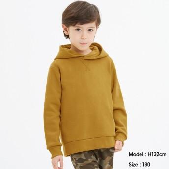 (GU)KIDS(男女兼用)裏起毛スウェットプルパーカ(長袖) MUSTARD 120