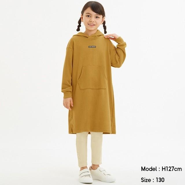 (GU)GIRLSスウェットパーカーワンピース(長袖) MUSTARD 120