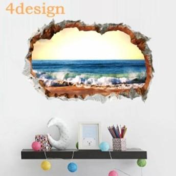 ウォールステッカー ウォールシール 壁シール 壁紙シール 壁面装飾 室内装飾 絵画 風景 景色 オーシャン ビーチ 海 海岸 フ