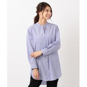 自由区 BAND COLLAR チュニックロングシャツ レディース サックスブルー系2 38 【JIYU-KU】