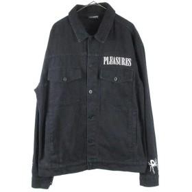 PLEASURES(プレジャーズ))バックスパイダーネットプリントデニムジャケット ブラック