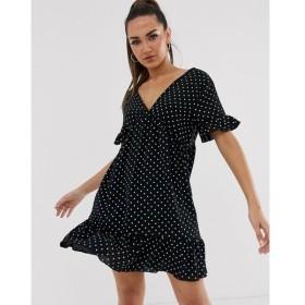 ブーフー Boohoo レディース ワンピース ワンピース・ドレス smock dress with frill detail in black heart print ブラック